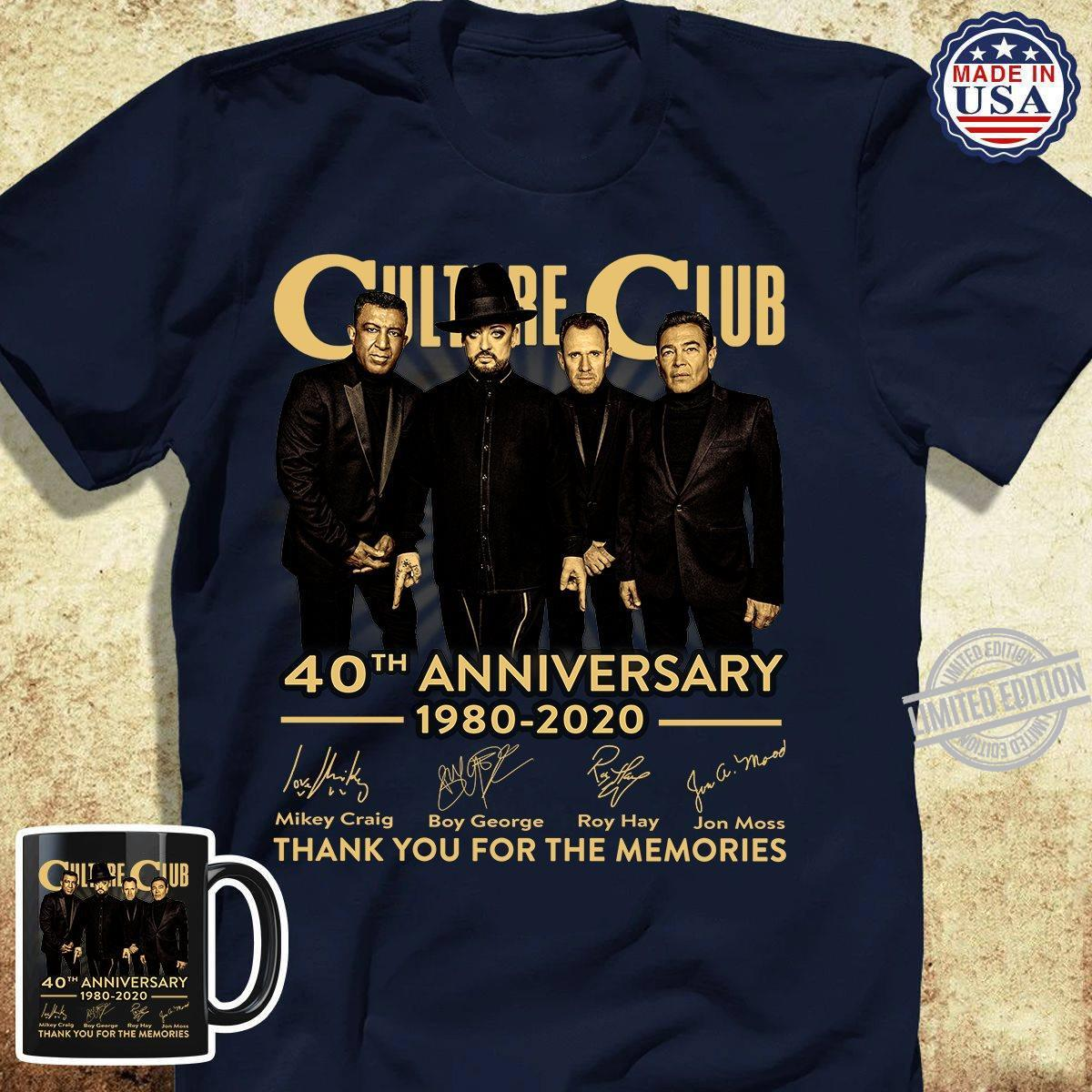 Culture Club 40th Anniversary 1980-2020 Thank You For The Memories Shirt